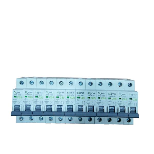 فیوز مینیاتوری تک پل 25 آمپر سیگما کدC251P بسته 12 عددی
