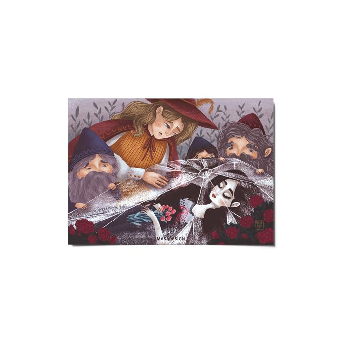 کارت پستال ماسا دیزاین طرح سفید برفی کد postv30