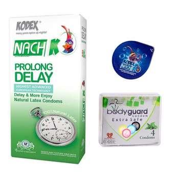 کاندوم ناچ کدکس مدل Prolong Delay بسته 12 عددی  به همراه کاندوم بادی گارد مدل Extra safe بسته 4 عددی و کاندوم ناچ کدکس مدل بلیسر