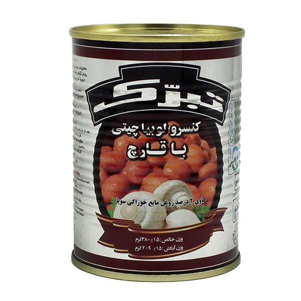 کنسرو لوبیا چیتی با قارچ تبرک مقدار 380 گرم