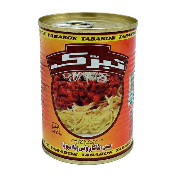 کنسرو سس ماکارونی با سویا تبرک مقدار 380 گرم