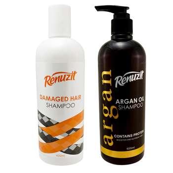 شامپو مو رینو زیت مدل ARGAN OIL حجم 400 میلی لیتر به همراه شامپو مو مدل Damaged Hair حجم 400 میلی لیتر
