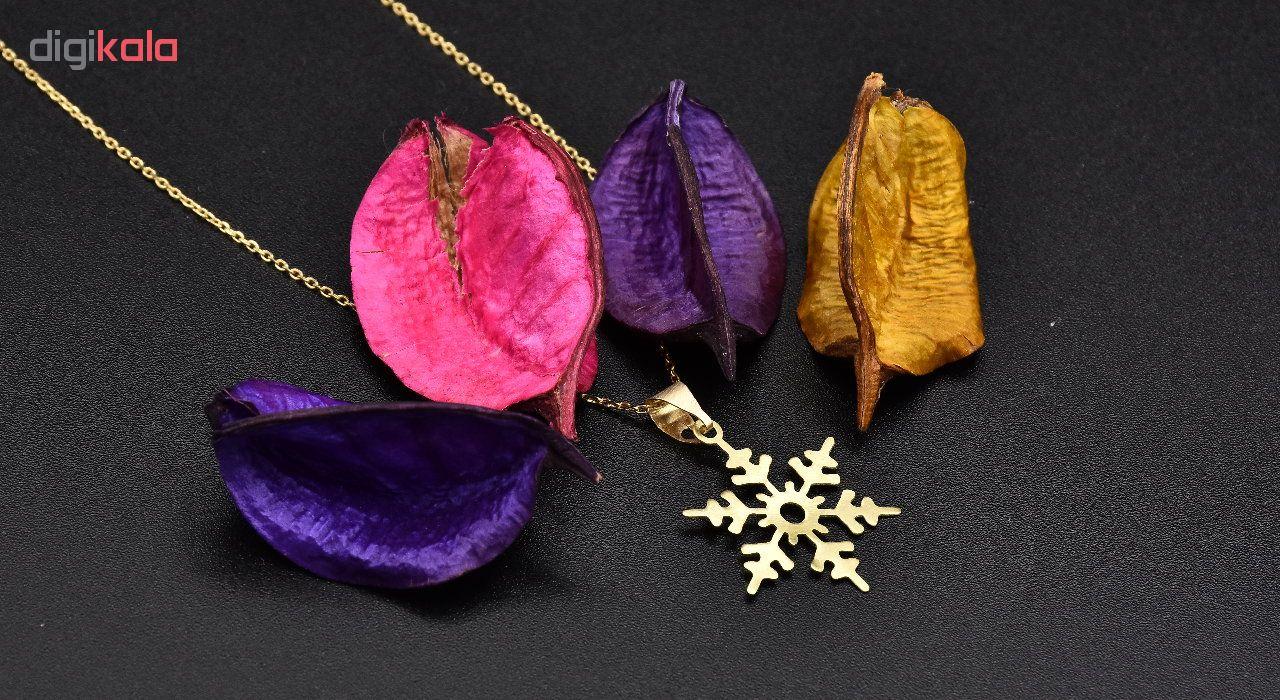 گردنبند طلا 18 عیار زنانه آمانژ طرح برف کد 619D3068