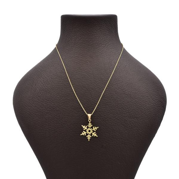 گردنبند طلا 18 عیار زنانه آمانژ طرح برف کد 619D3069