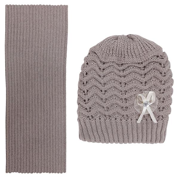 ست کلاه و شال گردن بافتنی دخترانه کد M1