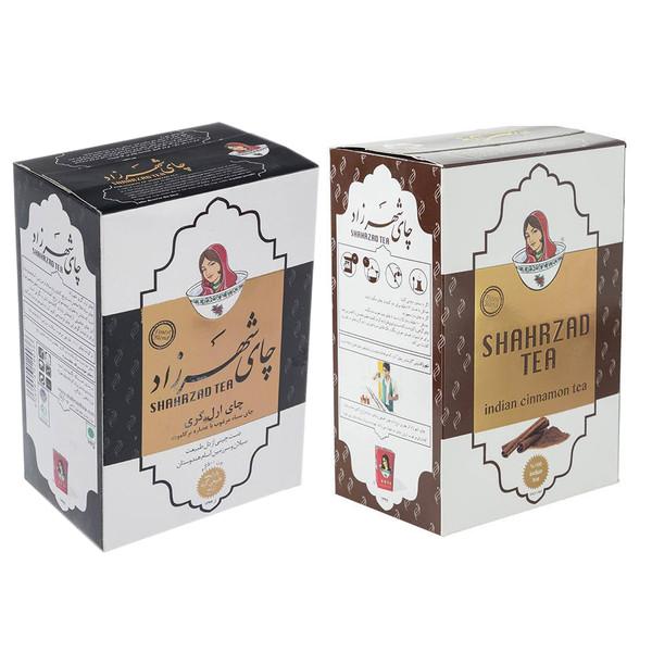 چای شهرزاد با طعم دارچین مقدار 500 گرم به همراه چای شهرزاد ارل گری بسته 500 گرم