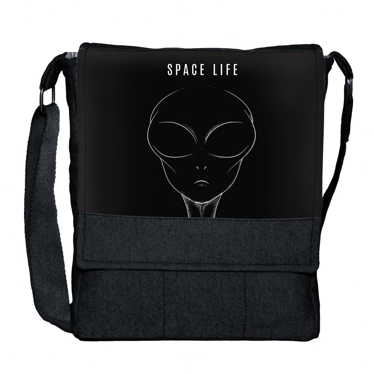کیف دوشی گالری چی چاپ طرح alien space life کد 65822