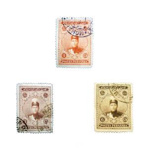 تمبر یادگاری مدل قاجار احمدی کد ahb3-095 مجموعه 3 عددی