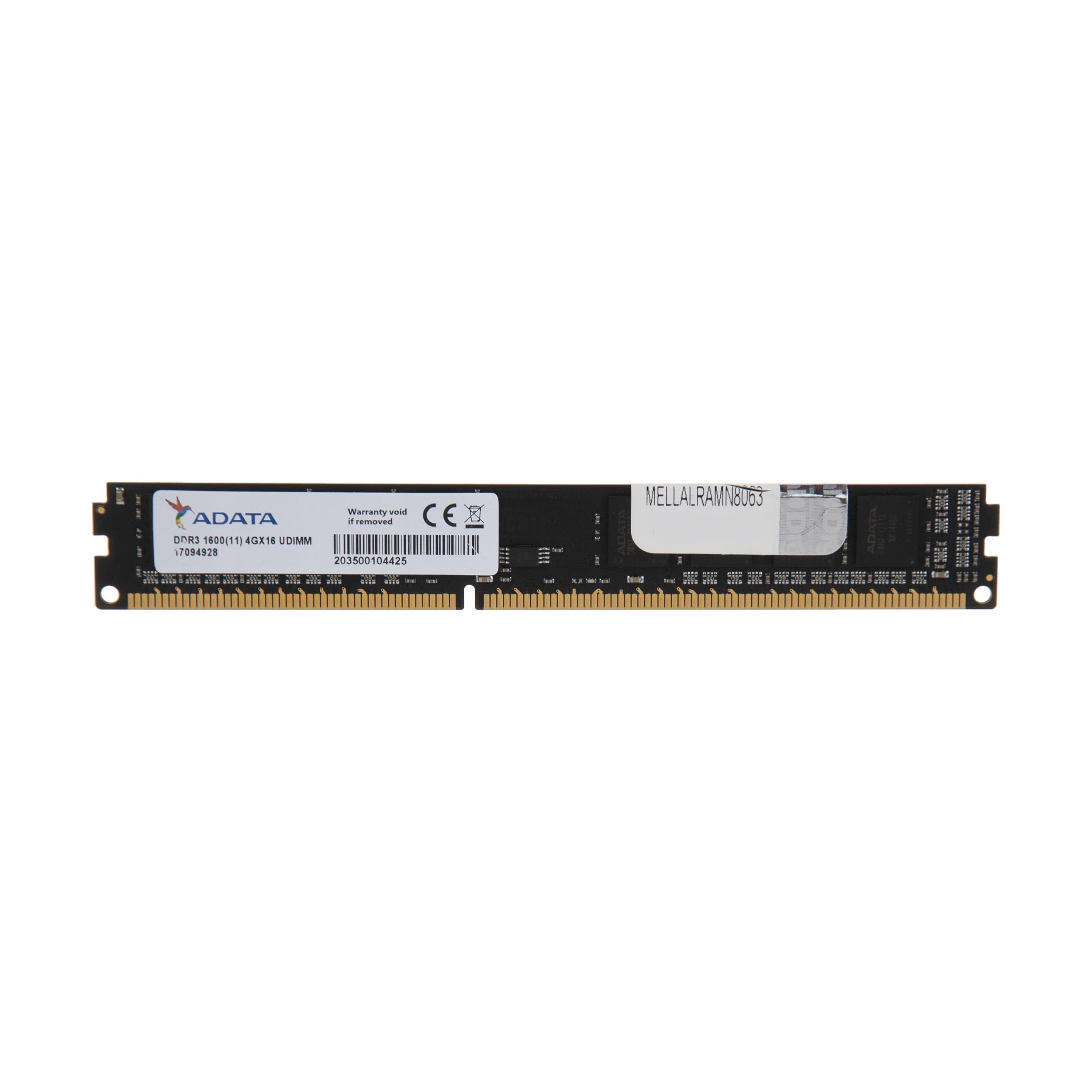 رم تک کاناله ای دیتا مدل DDR3 1600MHz CL11 ظرفیت 4 گیگابایت