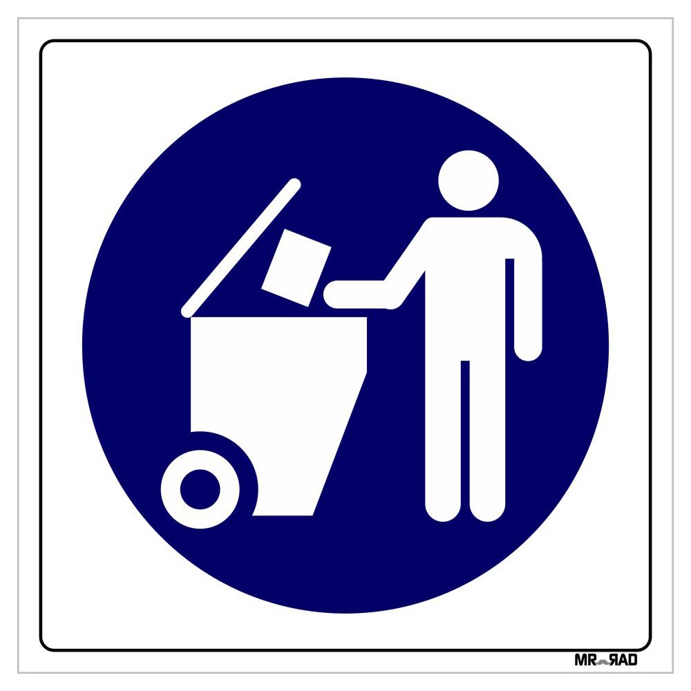 برچسب ایمنی FG طرح زباله ها را در سطل مناسب درب دار بریزید کد LB00075 بسته دو عددی