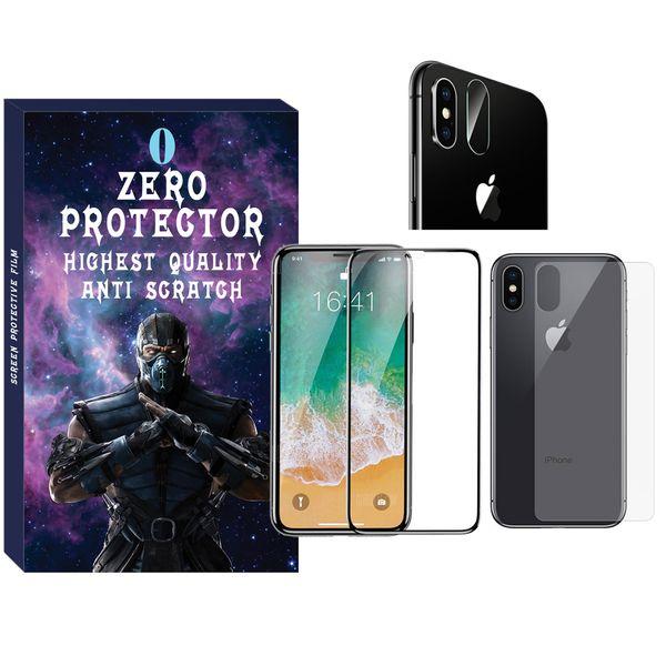 محافظ صفحه نمایش و پشت گوشی زیرو مدل FUZ-01 مناسب برای گوشی موبایل اپل Iphone X/Xs به همراه محافظ لنز دوربین