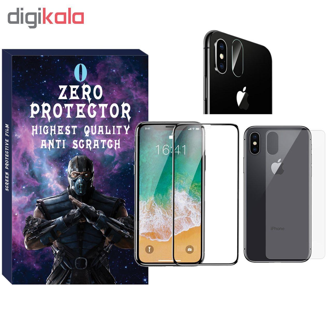 محافظ صفحه نمایش و پشت گوشی زیرو مدل FUZ-01 مناسب برای گوشی موبایل اپل Iphone X/Xs به همراه محافظ لنز دوربین main 1 1