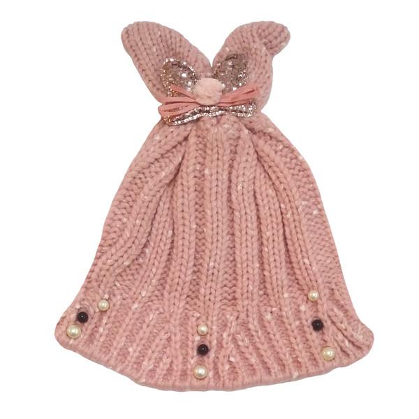 کلاه بافتنی دخترانه طرح پاپیون کد G110-4