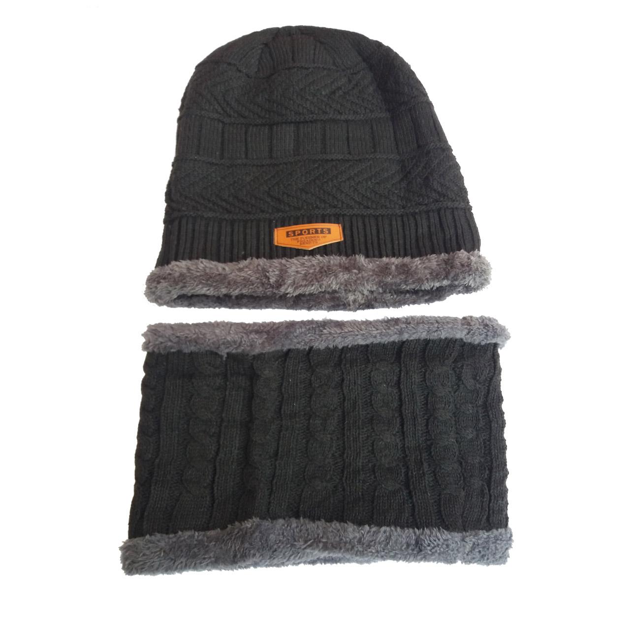 ست کلاه و شال گردن بافتنی مردانه کد 789