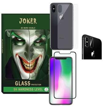 محافظ صفحه نمایش و پشت گوشی جوکر مدل FUM-01 مناسب برای گوشی موبایل اپل Iphone X به همراه محافظ لنز دوربین