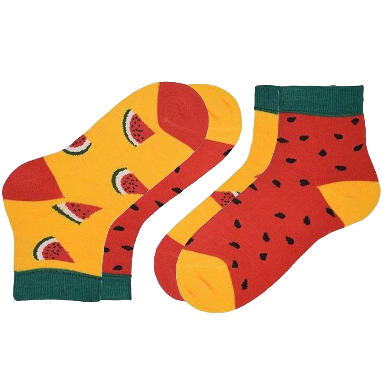 جوراب دخترانه طرح هندوانه بسته 2 عددی