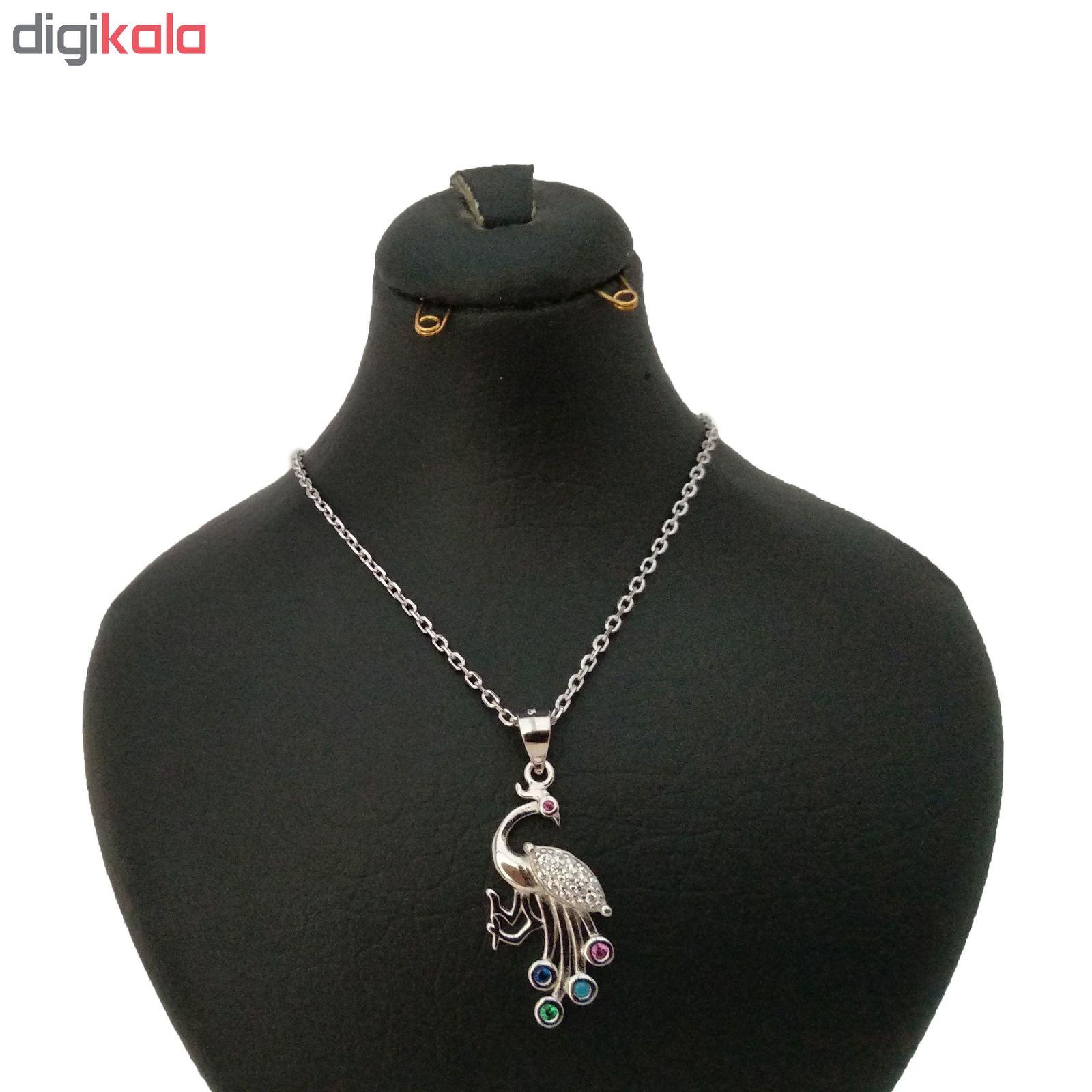 گردنبند نقره زنانه طرح طاووس کد p103