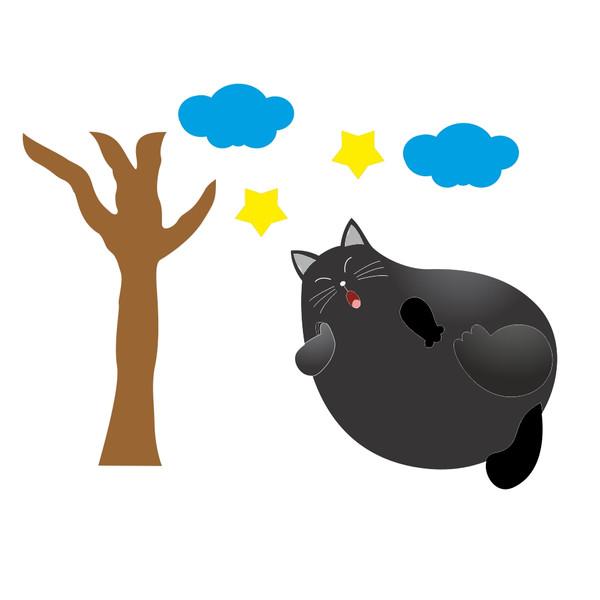 استیکر کلید و پریز مستر راد طرح گربه سیاه و درخت مجموعه 6 عددی