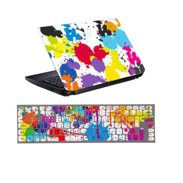 استیکر لپ تاپ طرح لکه رنگ کد 0917-98 مناسب برای لپ تاپ 15.6 اینچ به همراه برچسب حروف فارسی کیبورد