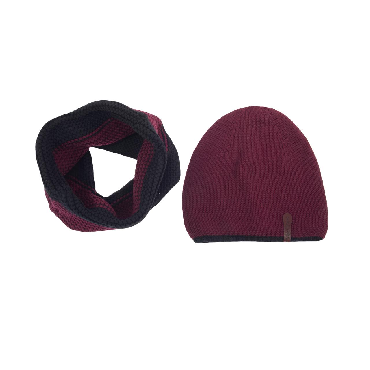 ست کلاه و شال گردن بافتنی تارتن کد 20014