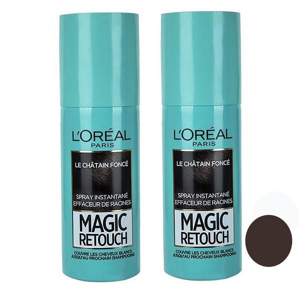 اسپری رنگ مو لورآل سری Magic Retouch شماره 25 حجم 75 میلی لیتر رنگ قهوه ای تیره مجموعه 2 عددی