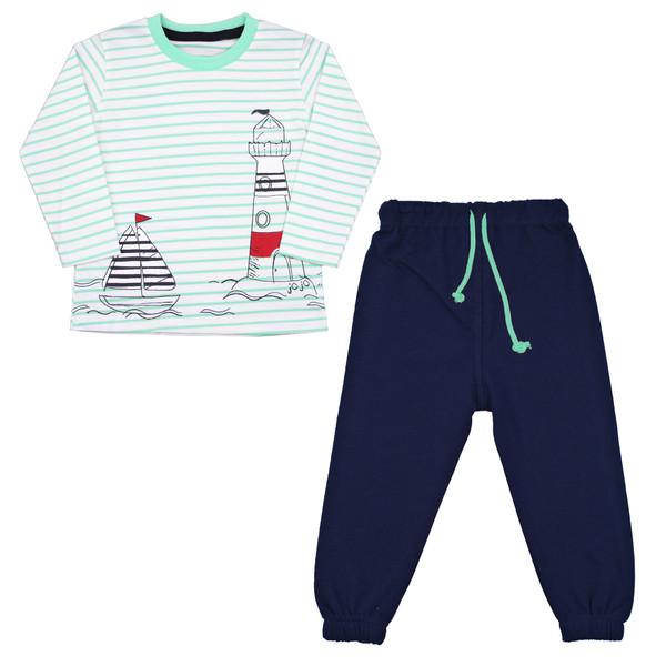 ست تی شرت و شلوار پسرانه کد FUN04 رنگ آبی