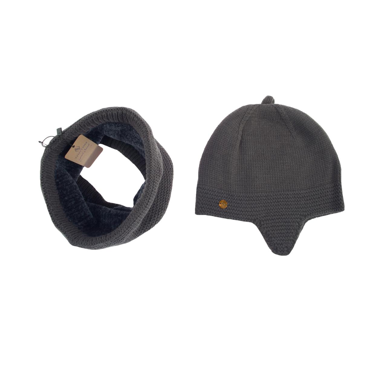 ست کلاه و شال گردن بافتنی تارتن مدل 70016 رنگ ذغالی