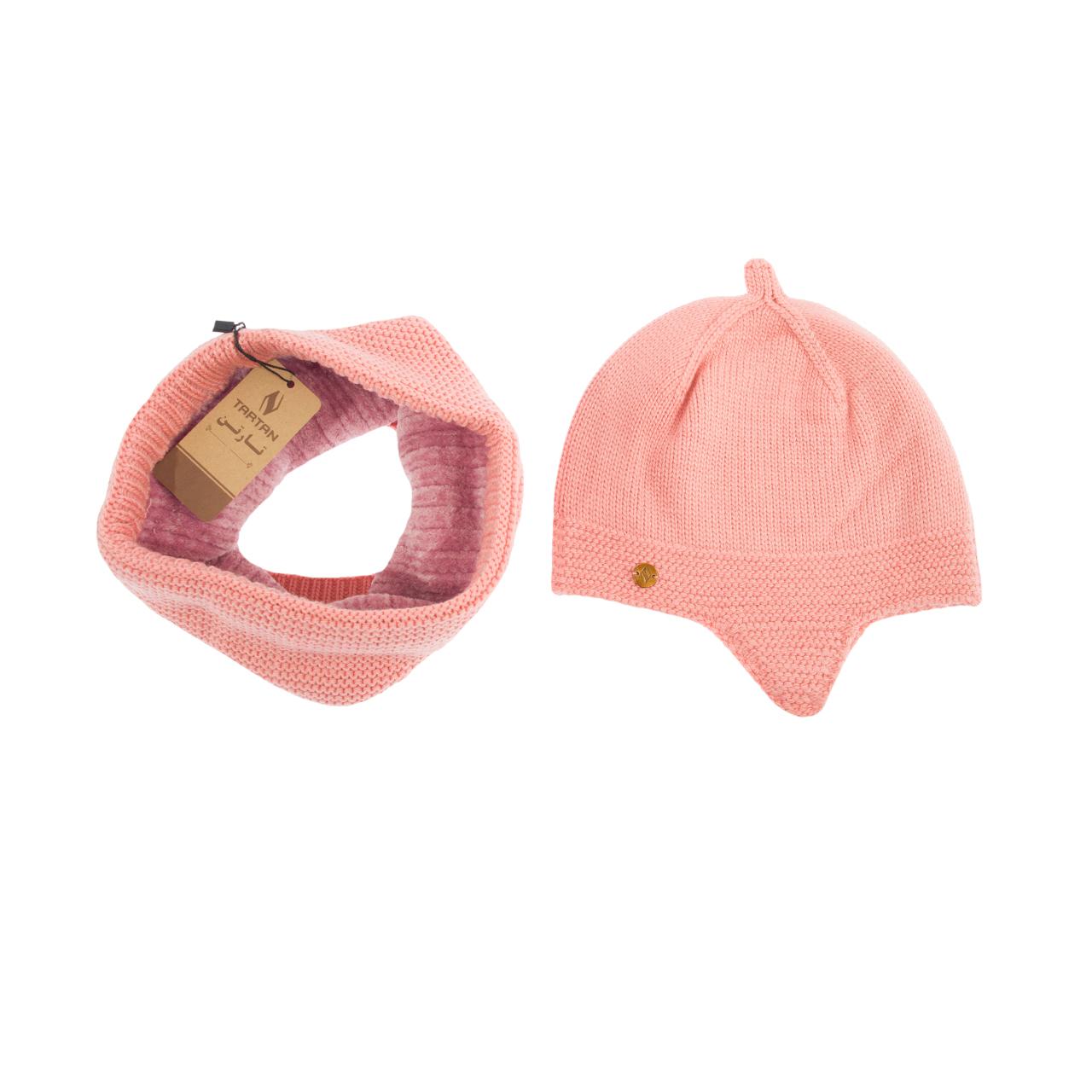 ست کلاه و شال گردن بافتنی تارتن مدل 70016 رنگ صورتی