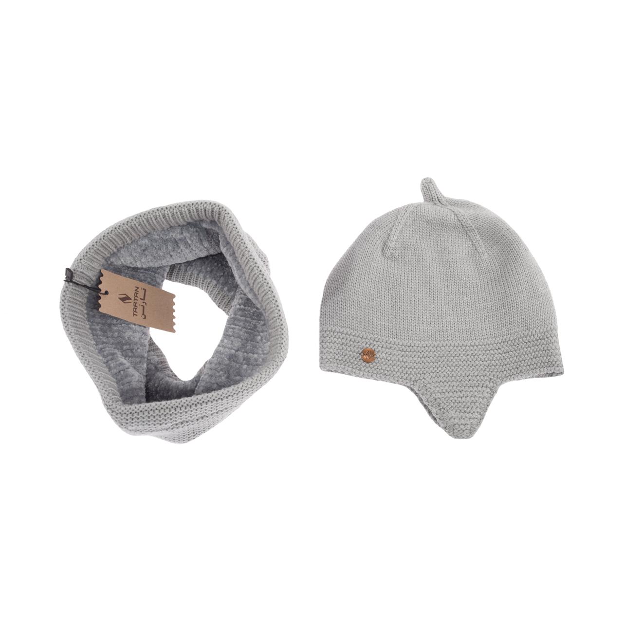 ست کلاه و شال گردن بافتنی تارتن مدل 70016 رنگ طوسی