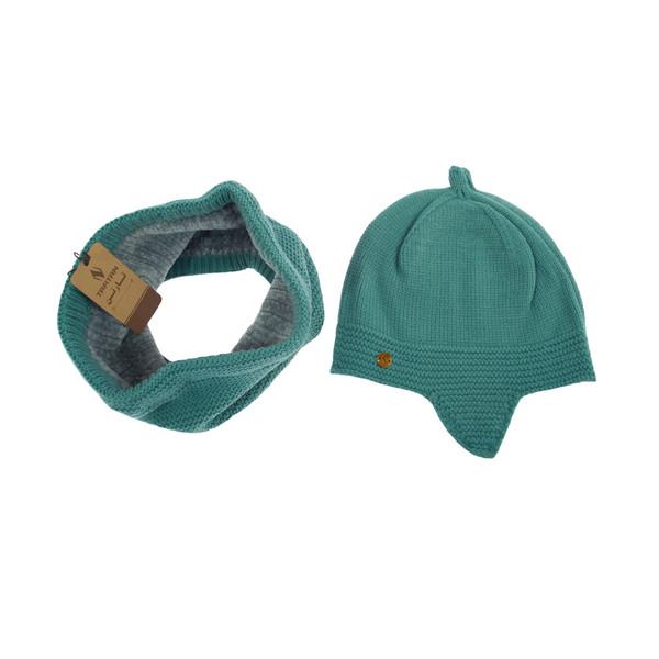 ست کلاه و شال گردن بافتنی تارتن مدل 70016 رنگ فیروزه ای