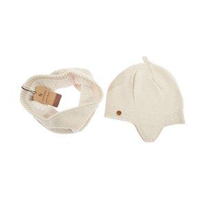 ست کلاه و شال گردن بافتنی تارتن مدل 70016 رنگ کرم