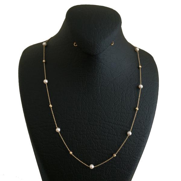 گردنبند طلا 18 عیار زنانه الماسین آذر کد Pearl01