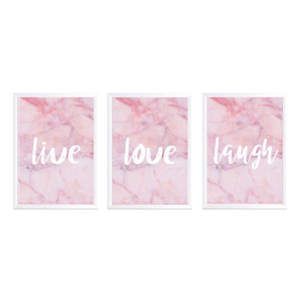 تابلو وینا مدل Live Love Laugh  مجموعه 3 عددی
