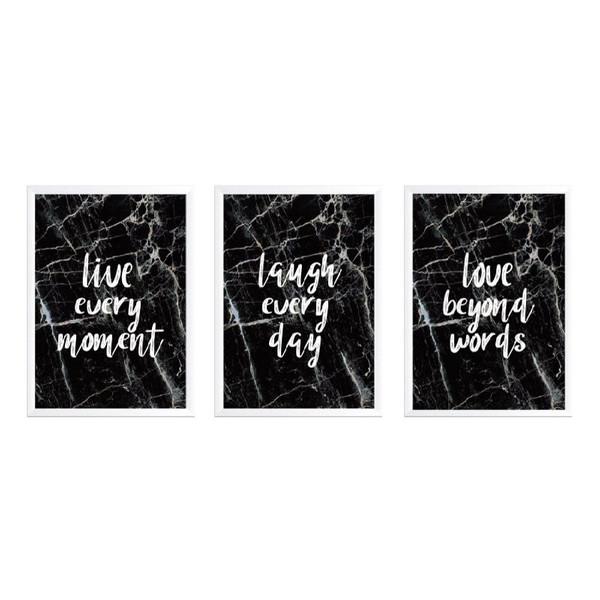 تابلو وینا مدل Live Love Laugh marble  مجموعه 3 عددی
