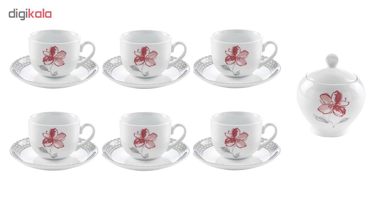 سرویس چای خوری 14 پارچه چینی زرین ایران سری ایتالیا اف مدل والنسیا درجه عالی
