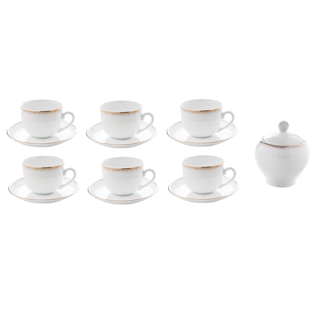 سرویس چای خوری 14 پارچه چینی زرین ایران سری ایتالیا اف مدل سپیدار درجه یک