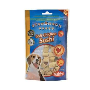 تشویقی سگ نوبی مدل soft chicken sushi وزن 70 گرم