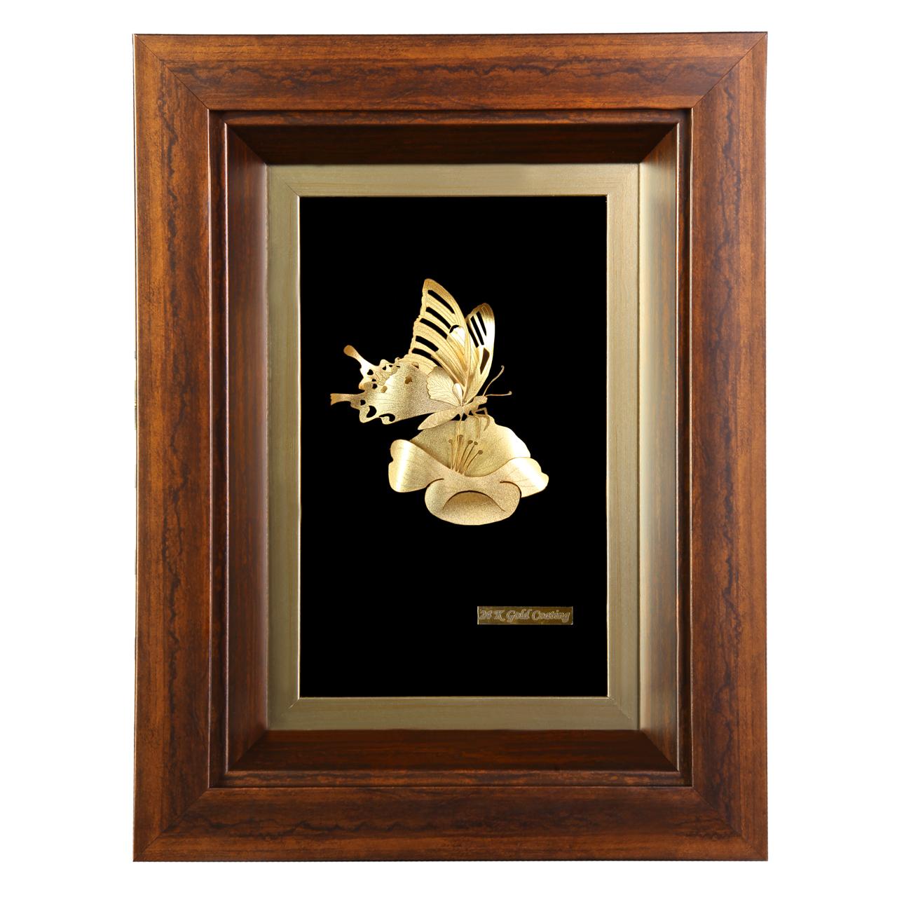 خرید                      تابلو طلا کوب مدل گل و پروانه کد 2937