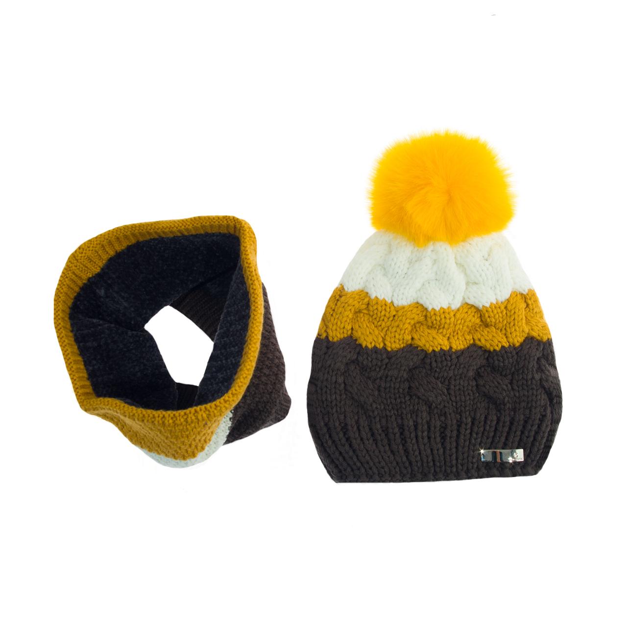 ست کلاه و شال گردن بافتنی تارتن کد 20018