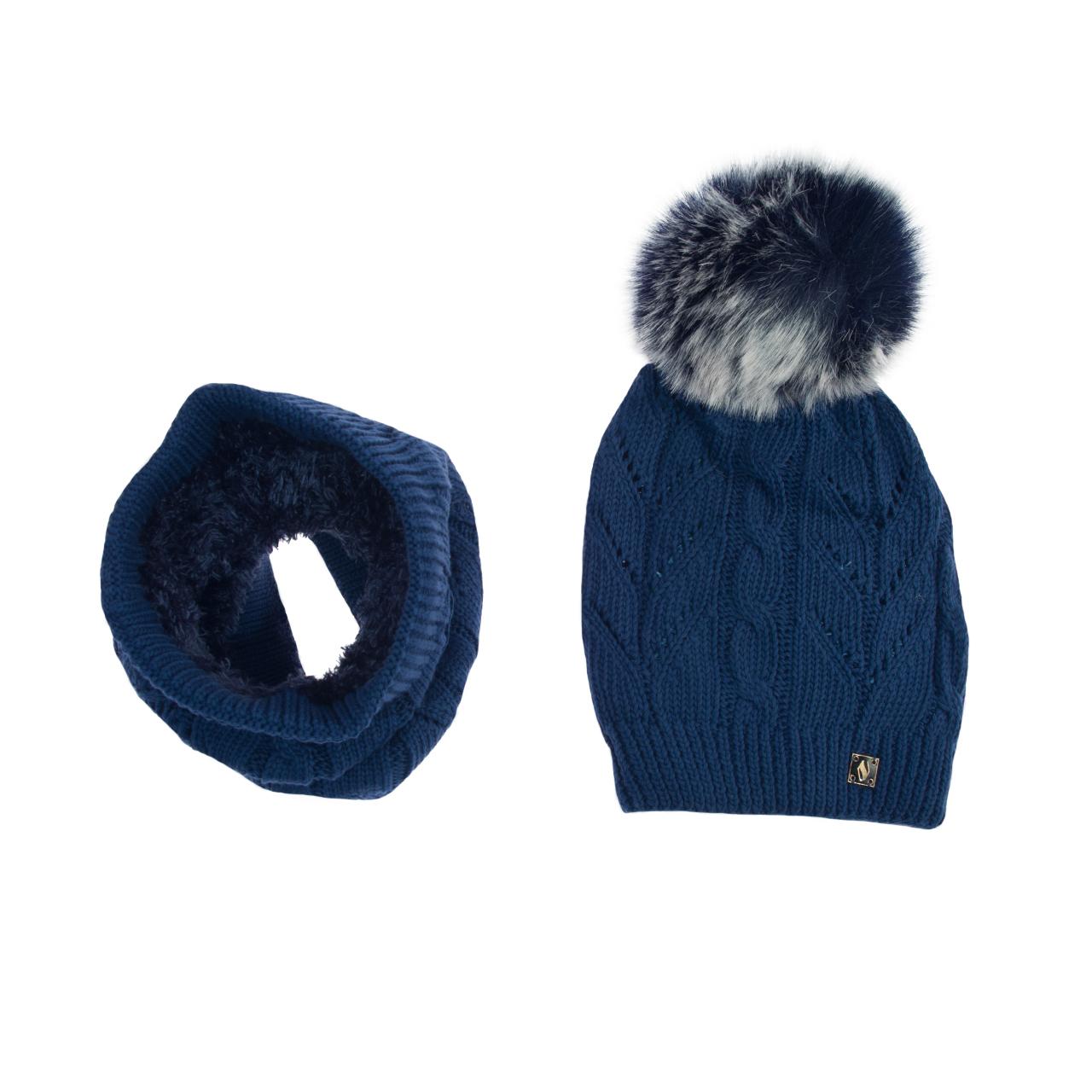ست کلاه و شال گردن بافتنی تارتن مدل 70006 رنگ آبی