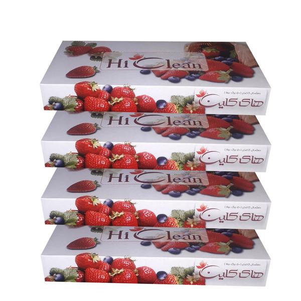 دستمال کاغذی 50 برگ های کلین طرح توت فرنگی بسته 4 عددی