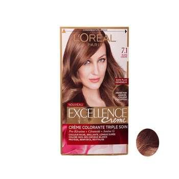 کیت رنگ مو لورآل مدل Excellence شماره 7.1 حجم 48 میلی لیتر بلوند نسکافه ای