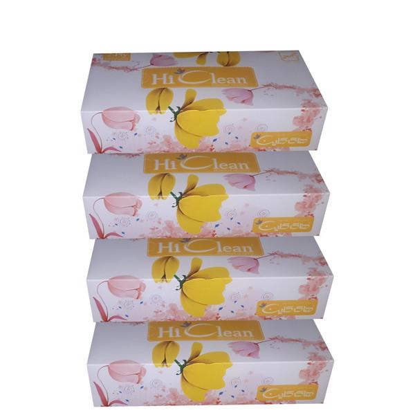دستمال کاغذی 100 برگ های کلین طرح گل لاله بسته 4 عددی
