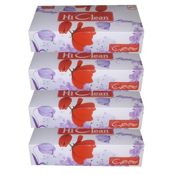 دستمال کاغذی 100 برگ های کلین طرح گل لاله کد 02 بسته 4 عددی