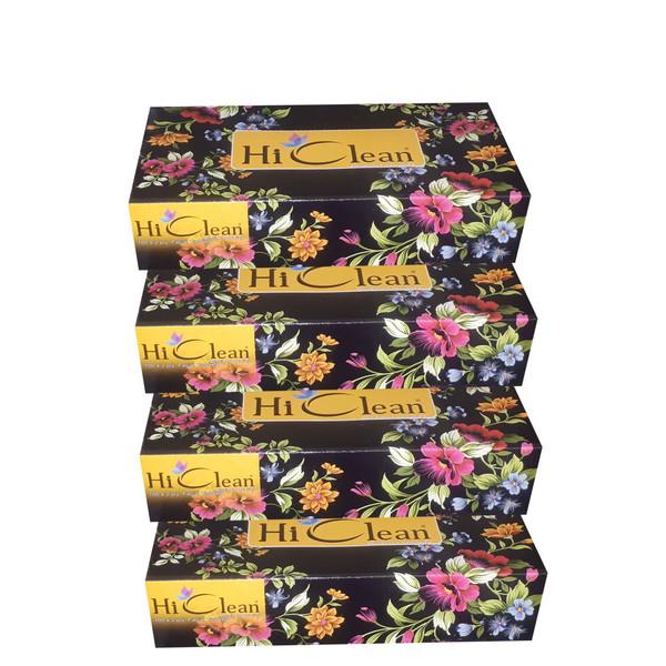 دستمال کاغذی 100 برگ های کلین طرح گلگون بسته 4 عددی