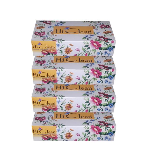 دستمال کاغذی 100 برگ های کلین طرح گلگون کد 02 بسته 4 عددی