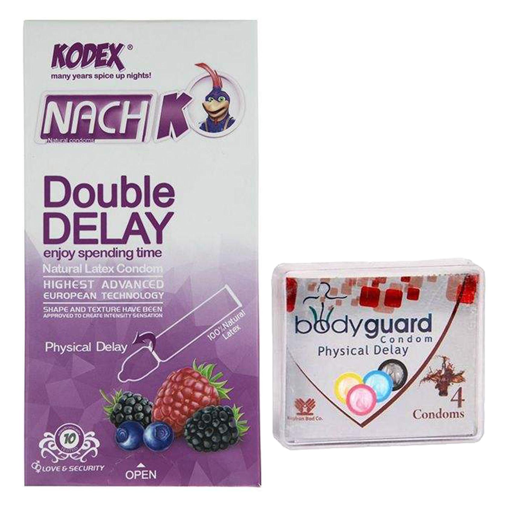خرید                      کاندوم ناچ کدکس مدل Double Delay بسته 10 عددی به همراه کاندوم بادی گارد مدل فیزیکال دیلی بسته 4 عددی