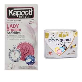 کاندوم کاپوت مدل Lady بسته 12 عددی به همراه کاندوم بادی گارد مدل Comfort بسته 4 عددی