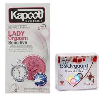 کاندوم کاپوت مدل Lady بسته 12 عددی به همراه کاندوم بادی گارد مدل Delay بسته 4 عددی