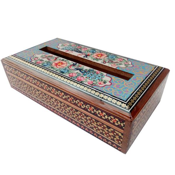جعبه دستمال کاغذی خاتم کاری طرح گل و مرغ مدل گلسار کد 1141